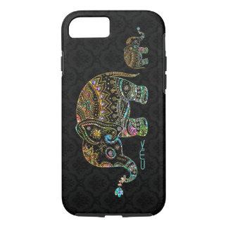 Cute Elephant Black & Colorful Glitter & Diamonds iPhone 8/7 Case