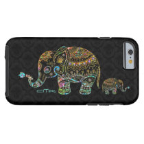 Cute Elephant Black & Colorful Glitter & Diamonds Tough iPhone 6 Case