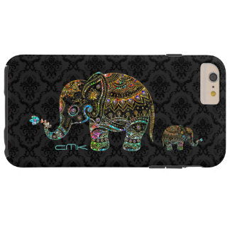 Cute Elephant Black & Colorful Glitter & Diamonds Tough iPhone 6 Plus Case