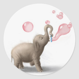 cute elephant blowing pink bubbles classic round sticker