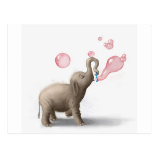 cute elephant blowing pink bubbles postcard