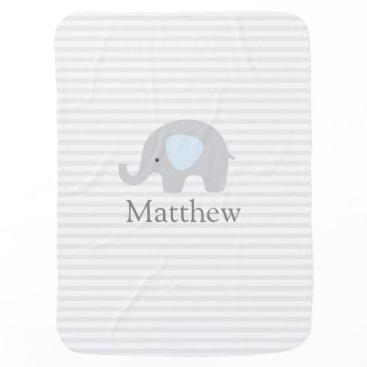 MinaStudio Cute Elephant Blue Gray Striped Boy Baby Blanket