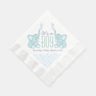 Cute Elephant blue named baby shower boy napkin Coined Luncheon Napkin
