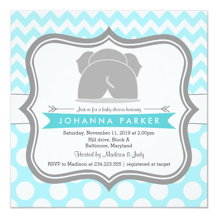 cute elephant blue polka dots chevron baby shower card | zazzle, Baby shower invitations