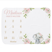 Cute Elephant Blush Pink Floral Monthly Milestone Baby Blanket