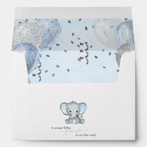 Cute Elephant Boy Balloons Baby Shower Envelope