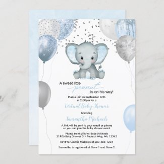 Blue Silver Elephant Boy  Baby Shower Invitation with Balloons