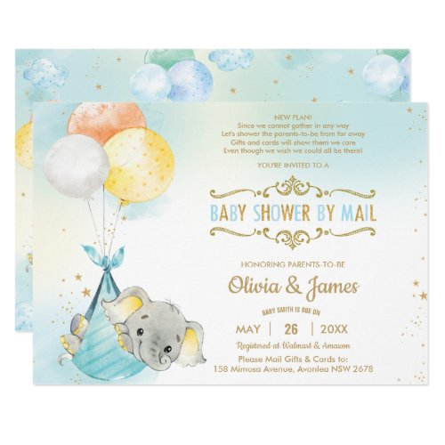 Cute Elephant Boy Virtual Baby Shower by Mail Invitation