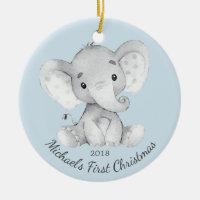 Cute Elephant Boys First Christmas Ornament