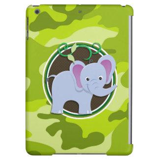 Cute Elephant; bright green camo, camouflage iPad Air Cover