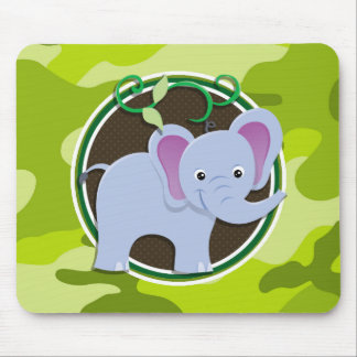 Cute Elephant; bright green camo, camouflage Mouse Pad
