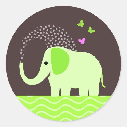 Cute Elephant & Butterflies Classic Round Sticker