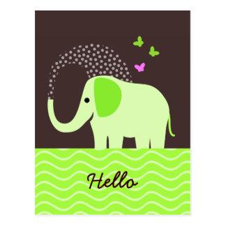 Cute Elephant & Butterflies Post Card