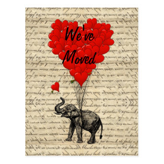 Cute elephant change of address card postcards