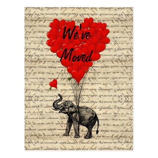 Cute elephant change of address card postcards
