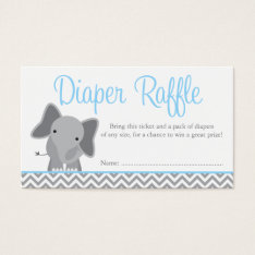 Cute Elephant Chevron Blue Diaper Raffle Ticket at Zazzle