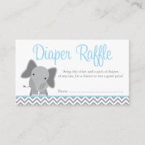 Cute Elephant Chevron Blue Diaper Raffle Ticket Enclosure Card