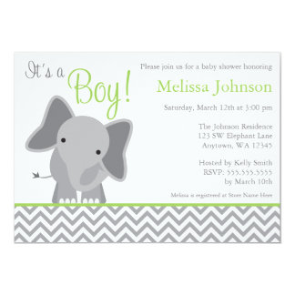 Cute Elephant Chevron Green Baby Shower Invitation