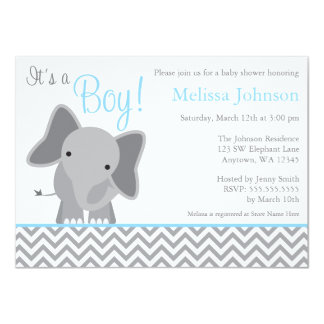 Cute Elephant Chevron Light Blue Baby Shower 4.5x6.25 Paper Invitation Card