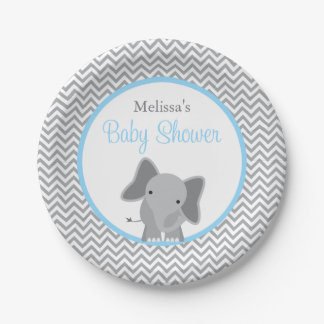 Cute Elephant Chevron Light Blue Baby Shower 7 Inch Paper Plate