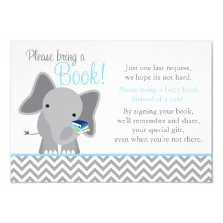 Cute Elephant Chevron Light Blue Baby Shower Book 3.5x5 Paper Invitation Card