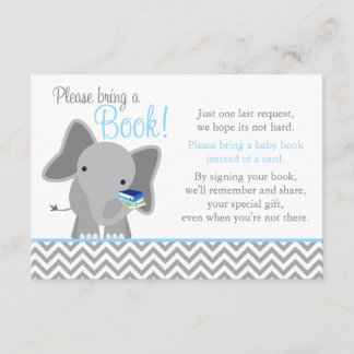 Cute Elephant Chevron Light Blue Baby Shower Book Enclosure Card