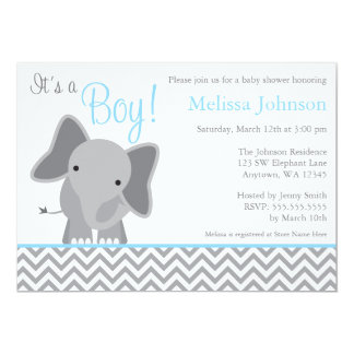Cute Elephant Chevron Light Blue Baby Shower Card