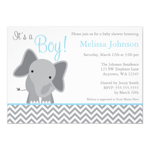 cute elephant chevron light blue baby shower 5x7 paper invitation card