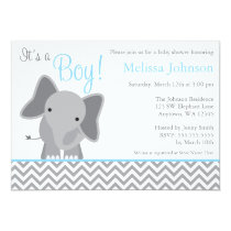 Cute Elephant Chevron Light Blue Baby Shower Invitation