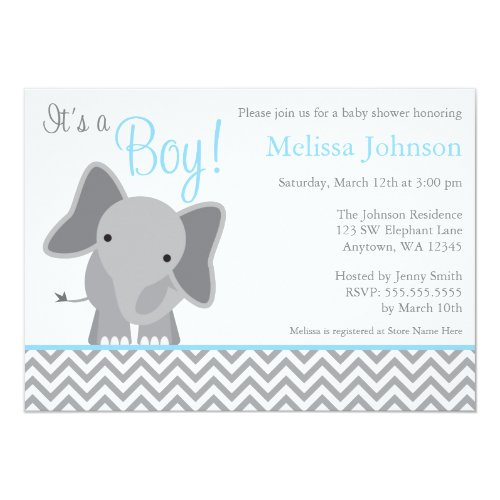 Cute Elephant Chevron Light Blue Baby Shower Invitation
