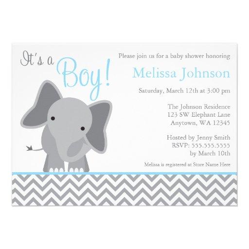 Cute Elephant Chevron Light Blue Baby Shower Personalized Invites