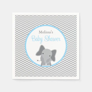 Cute Elephant Chevron Light Blue Baby Shower Paper Napkin at Zazzle