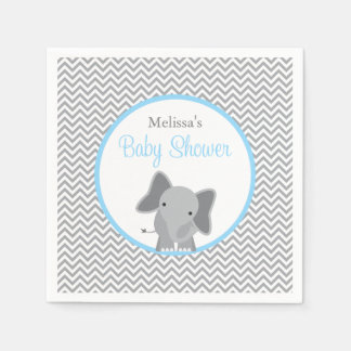 Cute Elephant Chevron Light Blue Baby Shower Paper Napkin