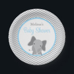 "Cute Elephant Chevron Light Blue Baby Shower Paper Plate<br><div class=""desc"">Modern gray and light pastel blue elephant themed baby shower paper plates. Perfect for a little boy baby shower. Easily personalize!</div>"