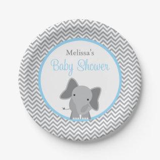 Cute Elephant Chevron Light Blue Baby Shower Paper Plate at Zazzle