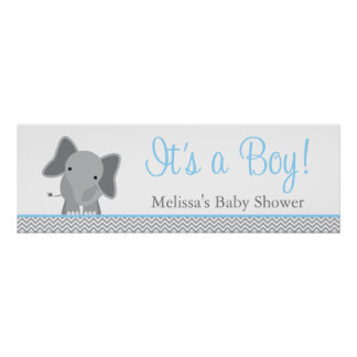 Cute Elephant Chevron Light Blue Baby Shower Poster