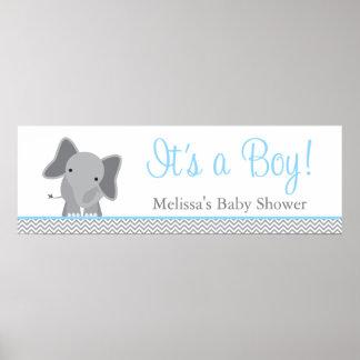 Cute Elephant Chevron Light Blue Baby Shower Poster