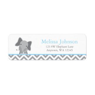 Cute Elephant Chevron Light Blue Label
