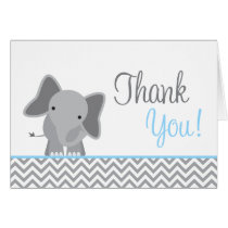 Cute Elephant Chevron Light Blue Thank You