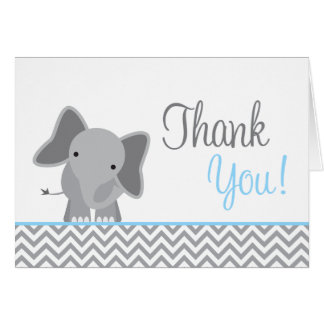 Cute Elephant Chevron Light Blue Thank You Card