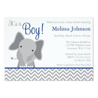 Cute Elephant Chevron Navy Blue Baby Shower 5x7 Paper Invitation Card