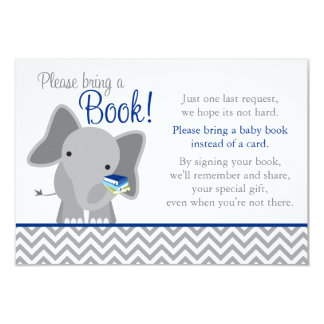 Cute Elephant Chevron Navy Blue Baby Shower Book Card