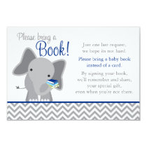 Cute Elephant Chevron Navy Blue Baby Shower Book Invitation