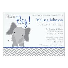 Cute Elephant Chevron Navy Blue Baby Shower Card at Zazzle