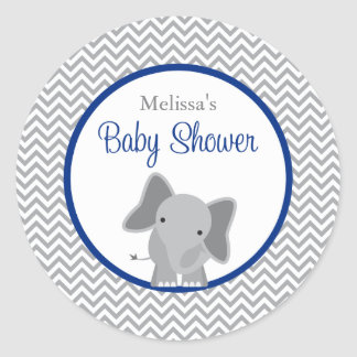 Cute Elephant Chevron Navy Blue Baby Shower Classic Round Sticker