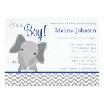 Cute Elephant Chevron Navy Blue Baby Shower Custom Invitation