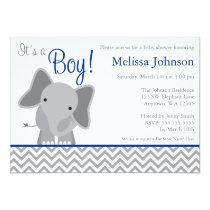 Cute Elephant Chevron Navy Blue Baby Shower Invitation