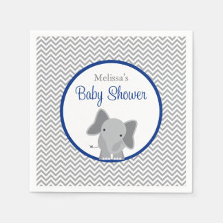Cute Elephant Chevron Navy Blue Baby Shower Napkin