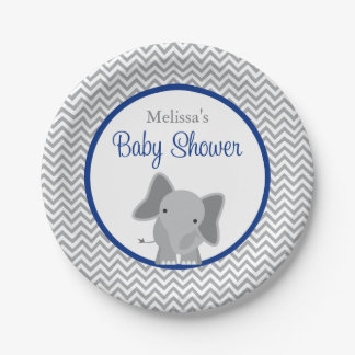 Cute Elephant Chevron Navy Blue Baby Shower Paper Plate