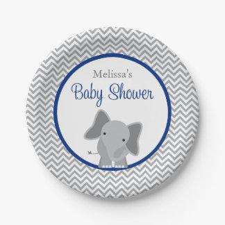 cute elephant chevron navy blue baby shower paper plate